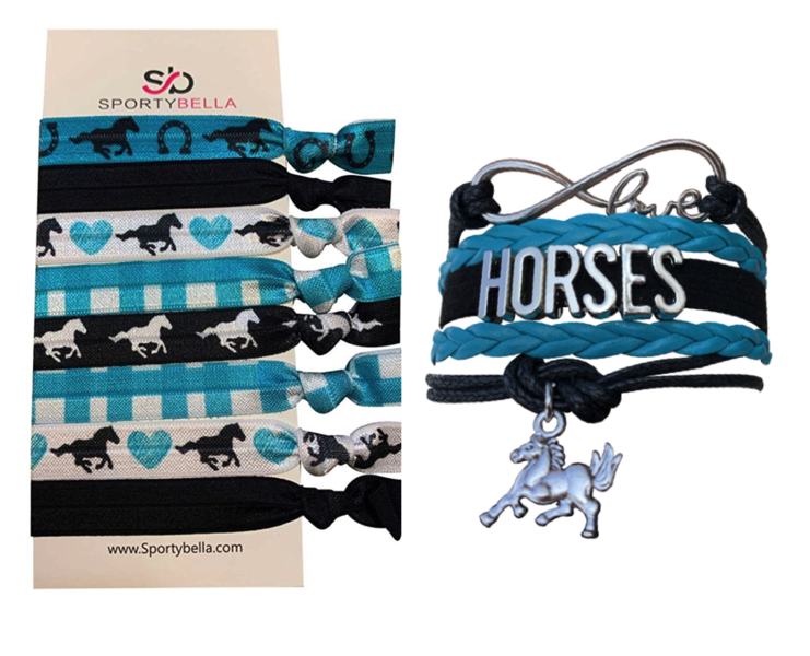 Horse Bracelet and Hair Ties Set- Teal