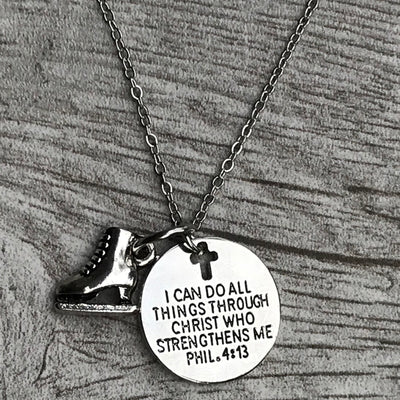Figure Skating I Can Do All Things Through Christ Who Strengthens Me Necklace - Sportybella
