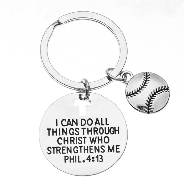Softball Faith Charm Keychain, I Can Do All Things Through Christ Who Strengthens Me