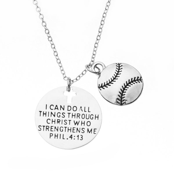 Softball Christian Necklace, Faith I Can Do All Things Through Christ Who Strengthens Me Phil. 4:13