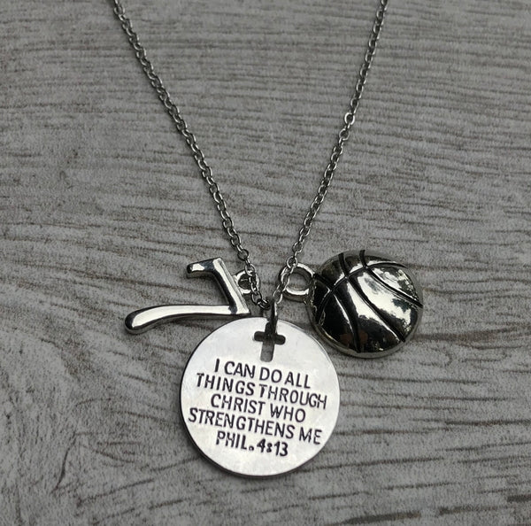 Personalized Basketball I Can Do All Things Through Christ Who Strengthens Me Necklace