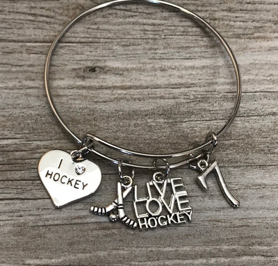 Personalized Hockey Bracelet with Number Charm