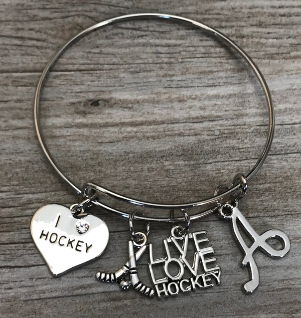 Personalized Ice Hockey Bracelet with Letter Charm