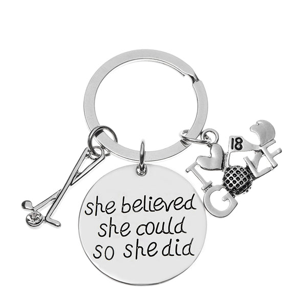 Golf She Believed She Could So She Did Charm Keychain