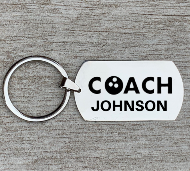 Personalized Engraved Bowling Coach Keychain