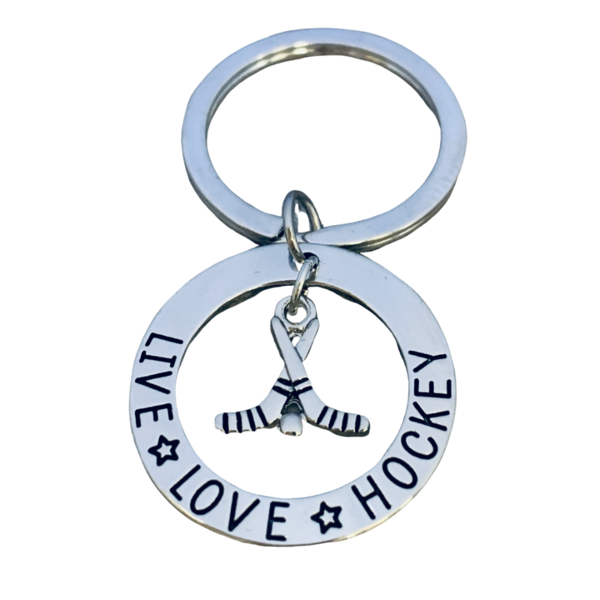 Ice Hockey Charm Keychain - Live Love Hockey - Sportybella