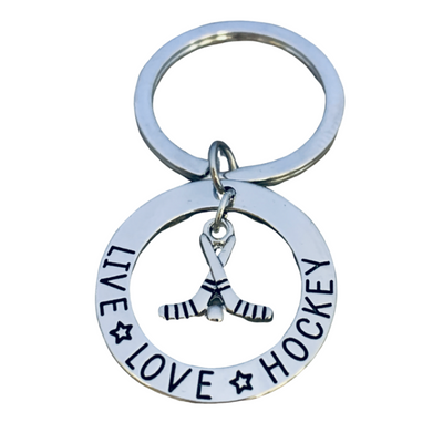 Ice Hockey Charm Keychain - Live Love Hockey