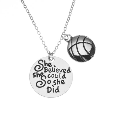 Basketball She Believed She Could So She Did Necklace - Sportybella