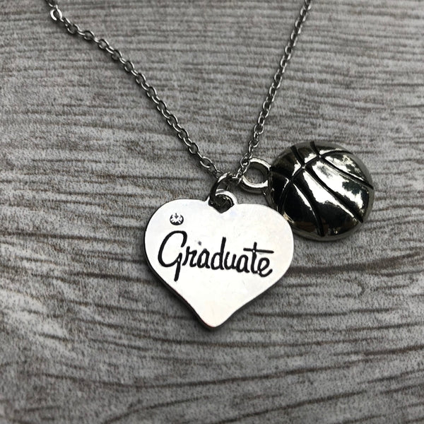 Basketball Graduate Charm Necklace - Sportybella