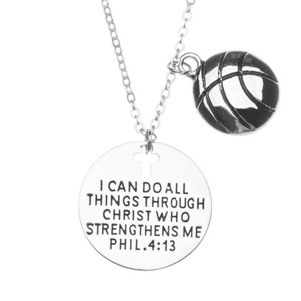 Basketball Faith I Can Do All Things Through Christ Who Strengthens Me Necklace - Sportybella