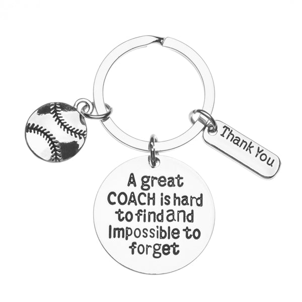 Softball Coach Keychain- Great Coach is Hard to Find But