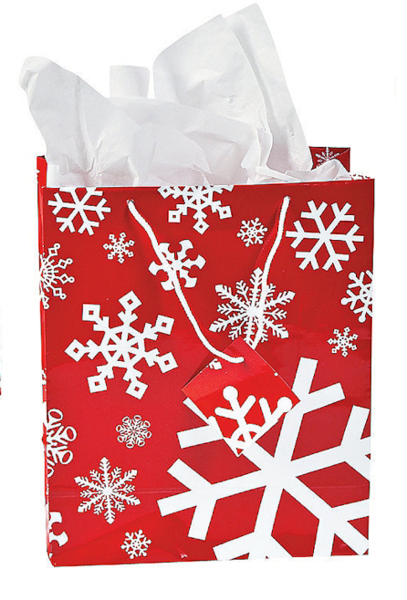 Medium Red & White Snowflake Gift Bag