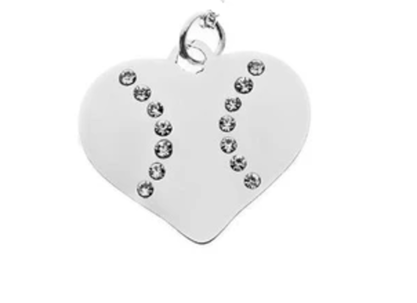 Softball Rhinestone Heart Charm