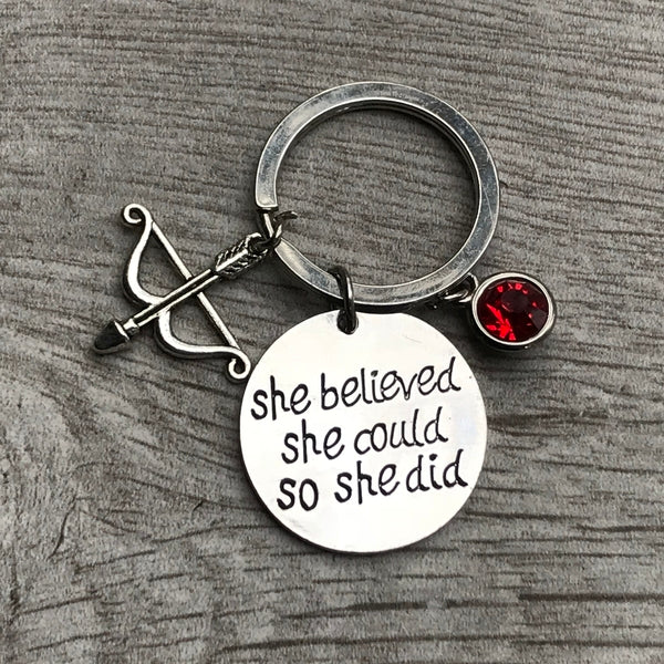 Personalzied Archery She Believed She Could So She Did Keychain