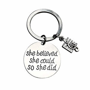 Music Keychain - She Believed She Could So She Did