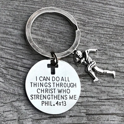 Football Charm Keychain, Christian Faith Charm Keychain, I Can Do All Things Through Christ Who Strengthens Me - Sportybella