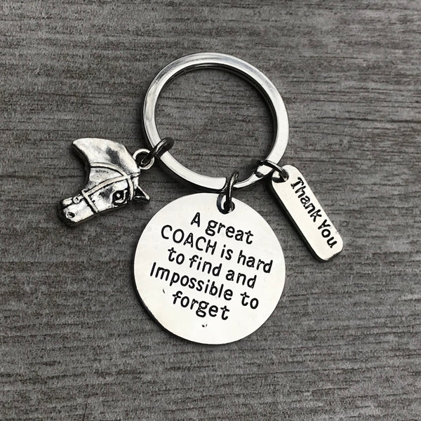 Equestrian Great Coach is Hard to Find But Impossible to Forget Keychain - Sportybella