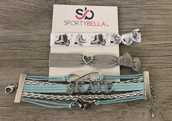 Girls Figure Skating Gift Set (Bracelet & Hair Ties)