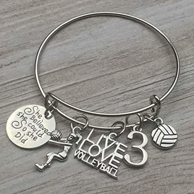 Personalized Volleyball She Believed She Could So She Did Bangle Bracelet