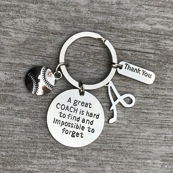 Personalized Softball Great Coach is Hard to Find But Impossible to Forget Keychain