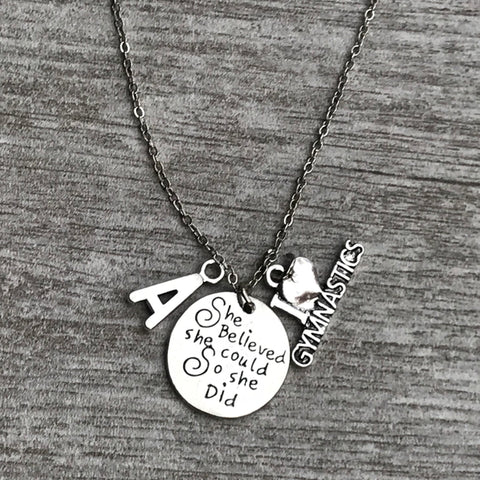 Personalized Cheer Necklace with Initial Charm