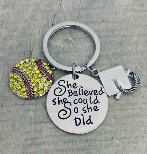 Softball Graduation Keychain - She Believed She Could Keychain