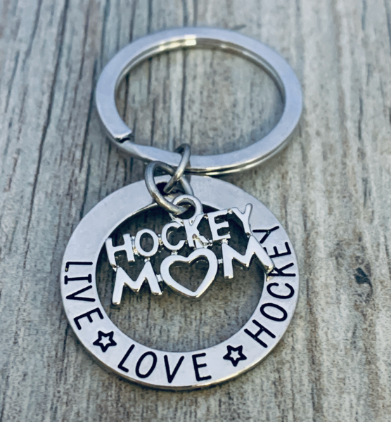 Ice Hockey Mom Charm Keychain - Live Love Hockey
