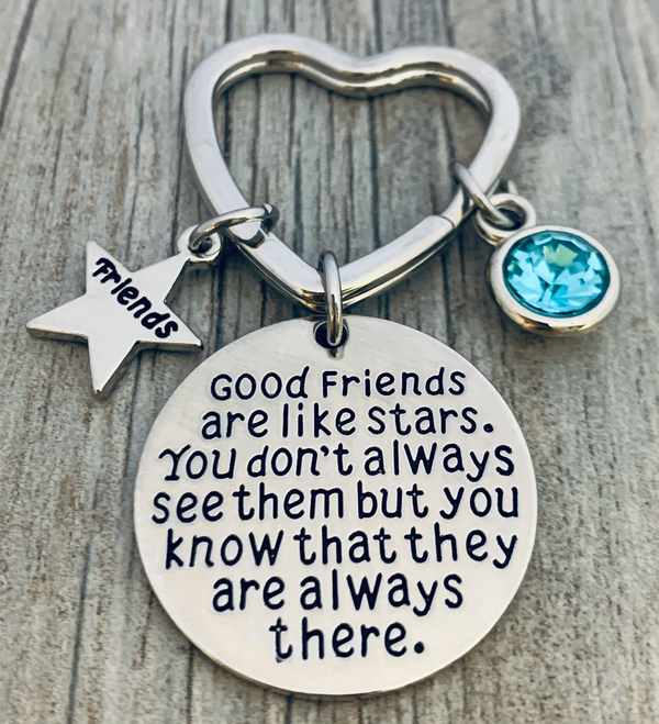 Personalized Best Friends Birthstone Charm Keychain- Custom Good Friends are Like Stars Key chain- Friend Jewelry for Women- Perfect Gift for Her - Sportybella