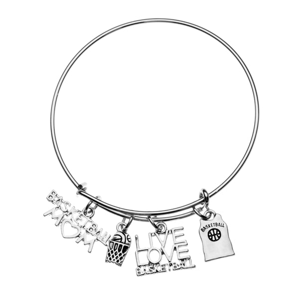 Basketball Mom Charm Bangle Bracelet - Sportybella