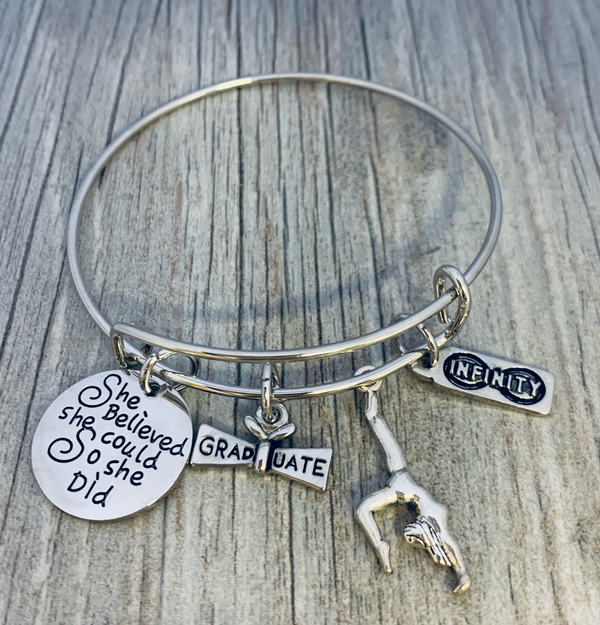 Gymnastics Graduation Bracelet - She Believed She Could