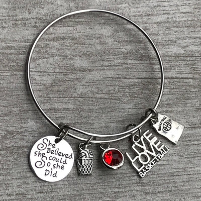 Personalized Basketball She Believed  She Could She Did Bangle Bracelet