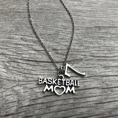 Personalized Basketball Mom Charm Necklace with Number Charm