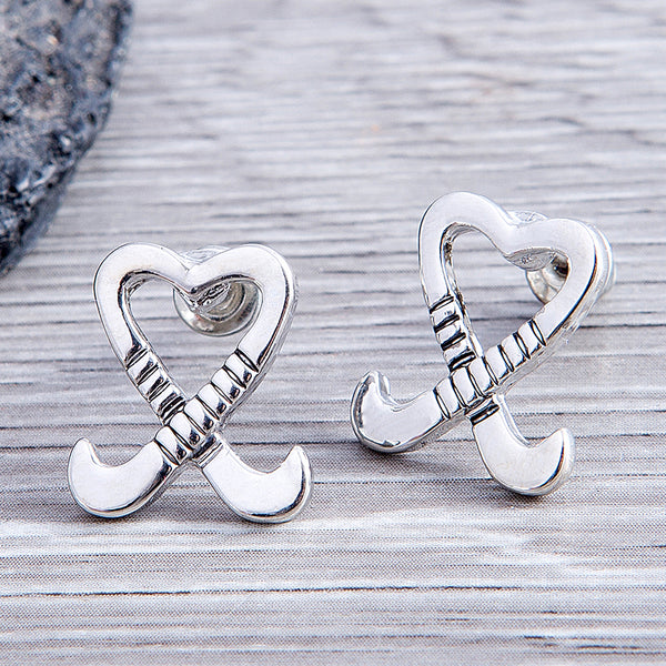 Field Hockey Heart Stick Earrings - Sportybella
