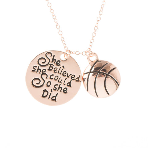 Personalized Basketball Necklace with Letter Charm