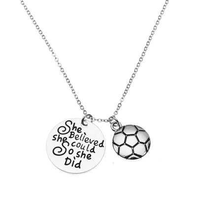 Girls Soccer She Believed She Could So She Did Necklace