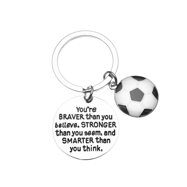 Soccer Keychain - Inspirational You're Braver than you Believe