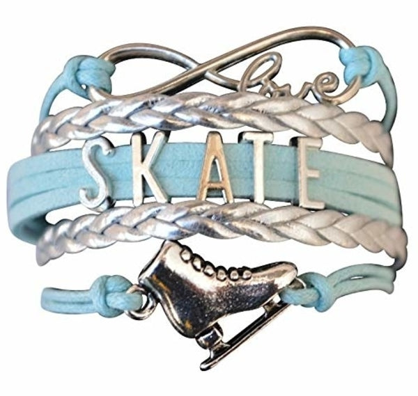 Girls Figure Skating Infinity Bracelet- Blue - Sportybella