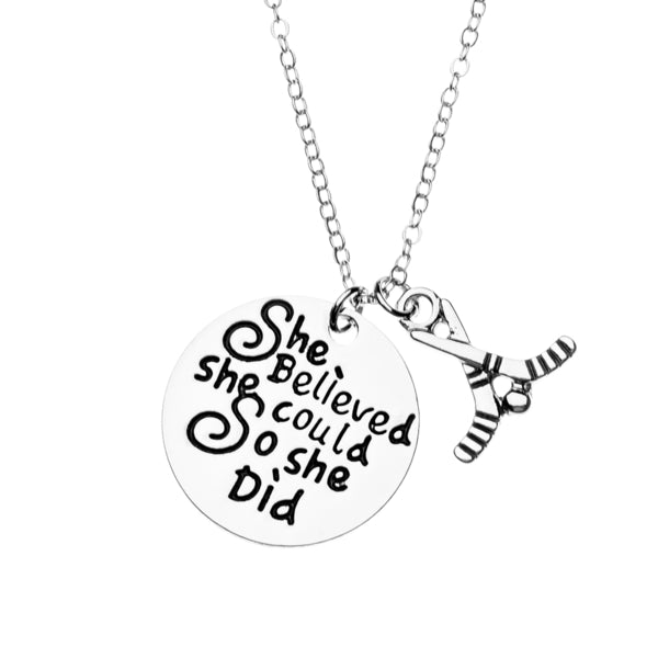Ice Hockey She Believed She Could So She Did Necklace