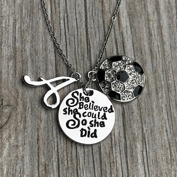 Soccer She Believed She Could So She Did Necklace with Letter Charm