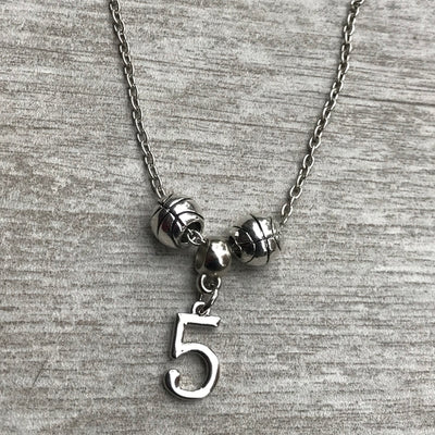 Personalized Basketball Charm Necklace with Number Charm