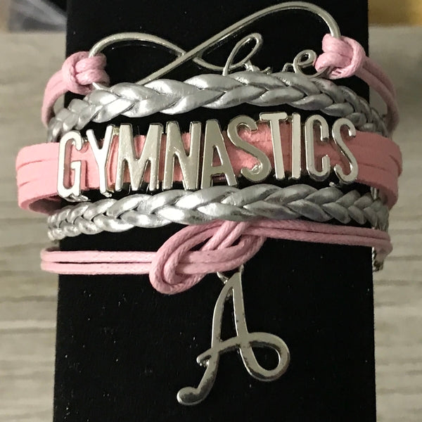Personalized Gymnastics Bracelet with Letter Charm
