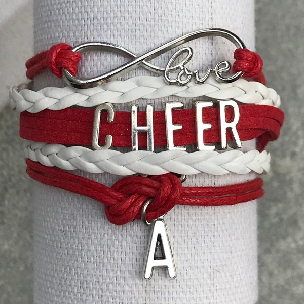 Personalized Cheer Infinity Charm Bracelet with Letter Charm