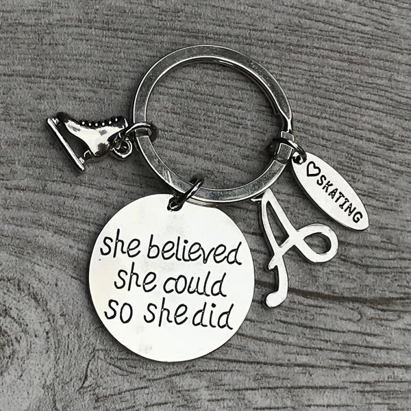Personalized Skating She Believed She Could So She Did Keychain
