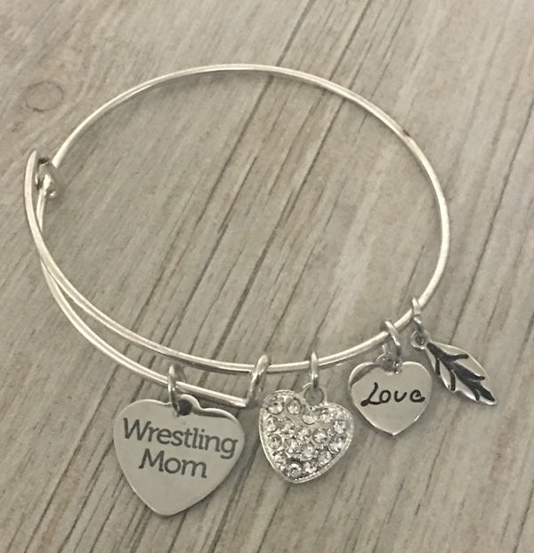 Wrestling Mom Charm Bangle Bracelet