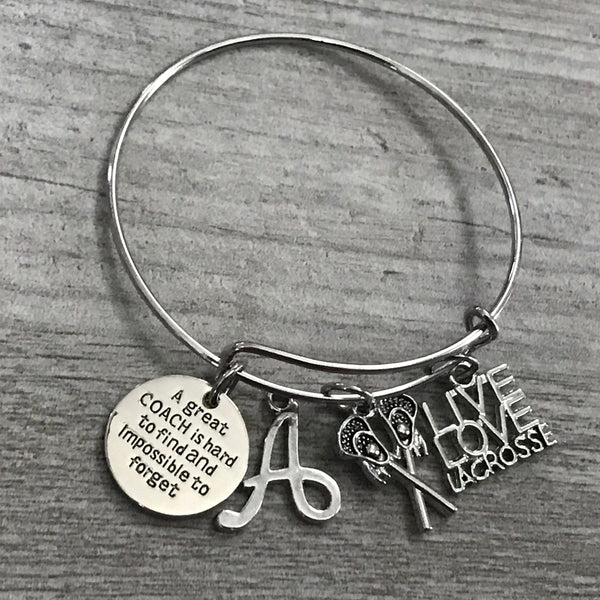 Personalized Lacrosse Great Coach Is Hard to Find Bangle Bracelet