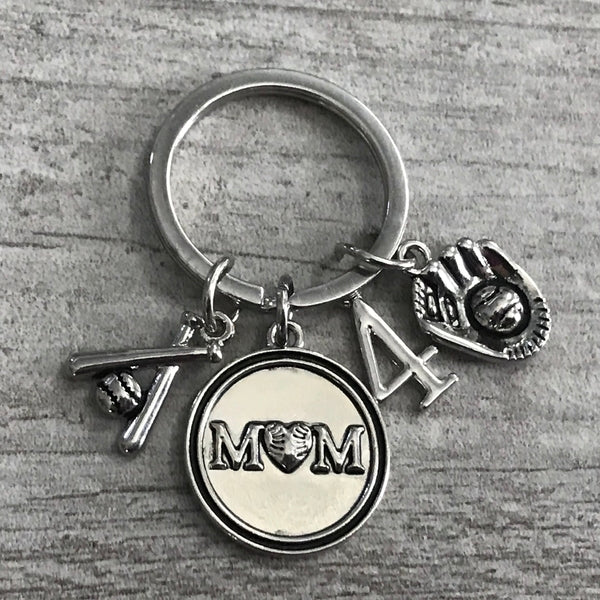 Personalized Softball Mom Keychain