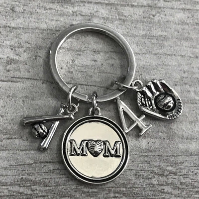 Personalized Baseball Mom Keychain