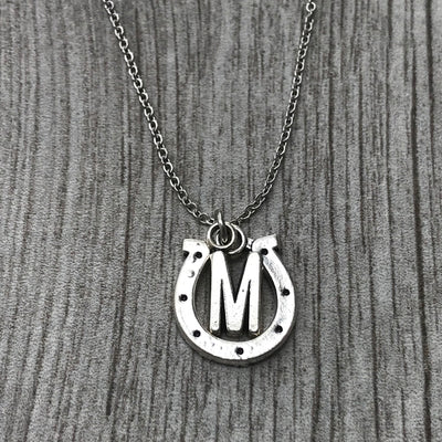 Personalized Horseshoe Necklace with Letter Charm