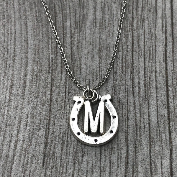 Personalized Horse Shoe Necklace with Letter Charm
