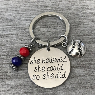 Custom Softball Keychain - Pick Team Colors - Sportybella
